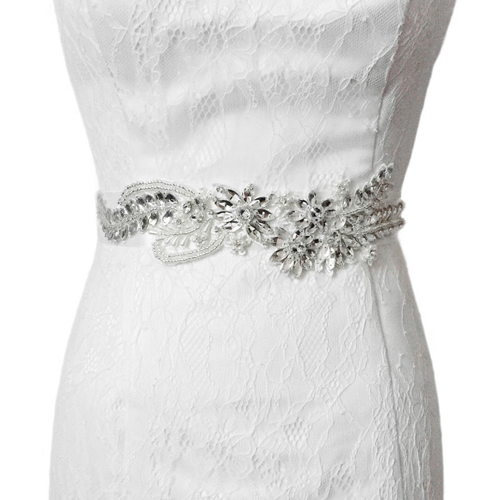 Handmade Rhinestone Crystals Wide Wedding Dress Sash Belt S182 - sepbridals