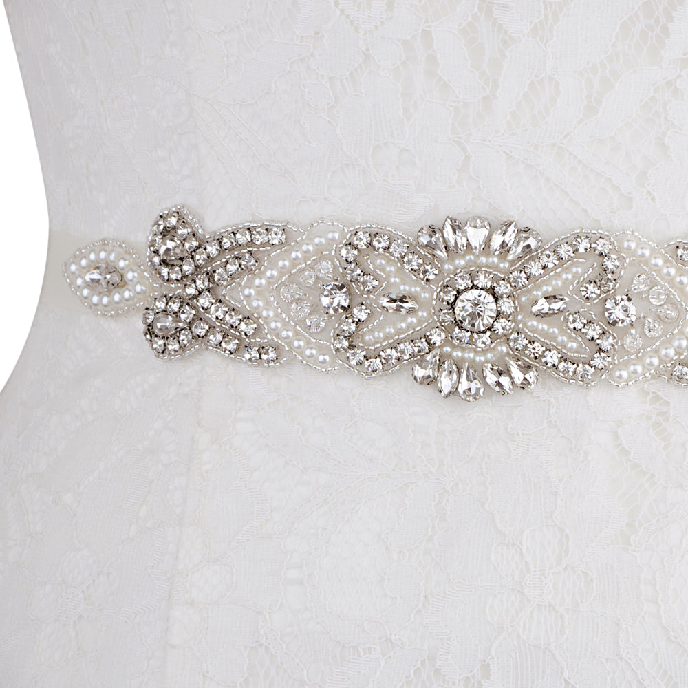 Handmade Rhinestone Crystals Wide Wedding Dress Sash Belt S208 - sepbridals