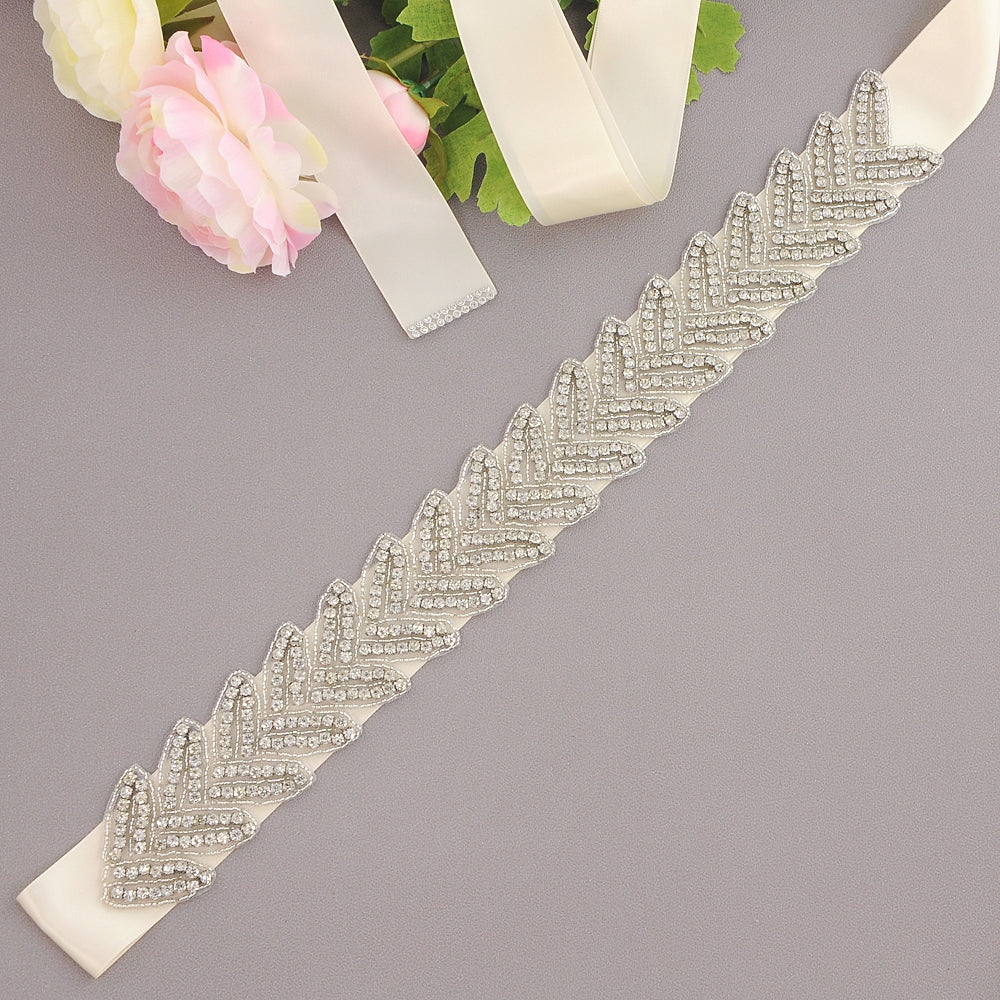Handmade Rhinestone Crystals Wide Wedding Dress Sash Belt S238 - sepbridals