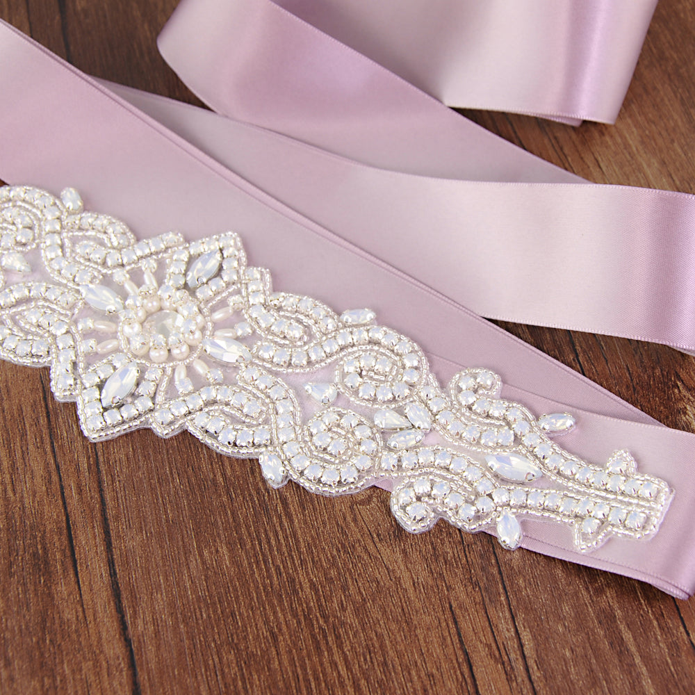 Handmade Rhinestone Crystals Bridal Sash Wedding Dress Belt S26-protein - sepbridals