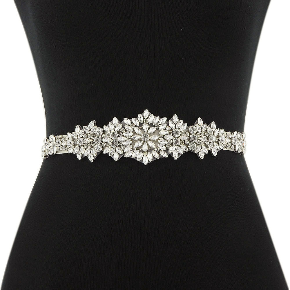 Handmade Rhinestone Crystals Bridal Sash Wedding Dress Belt S319-SIL - sepbridals