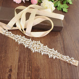 Handmade Rhinestone Crystals Bridal Sash Wedding Dress Belt S319-GOL - sepbridals