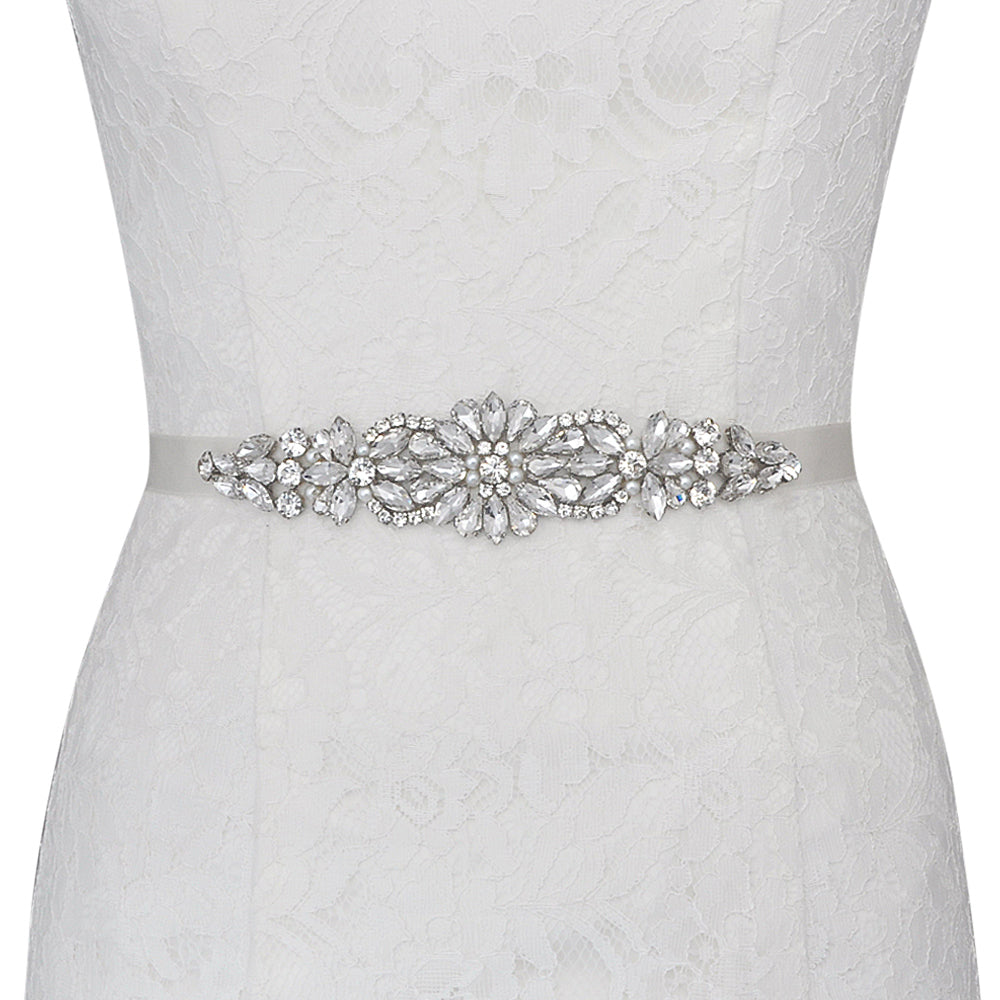 Handmade Rhinestone Crystals Bridal Sash Wedding Dress Belt S407 - sepbridals