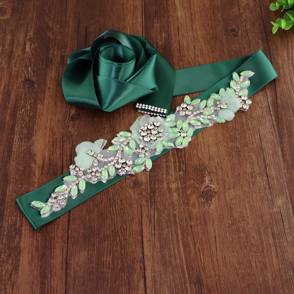 Handmade Rhinestone Crystals Bridal Sash Wedding Dress Belt S419 - sepbridals