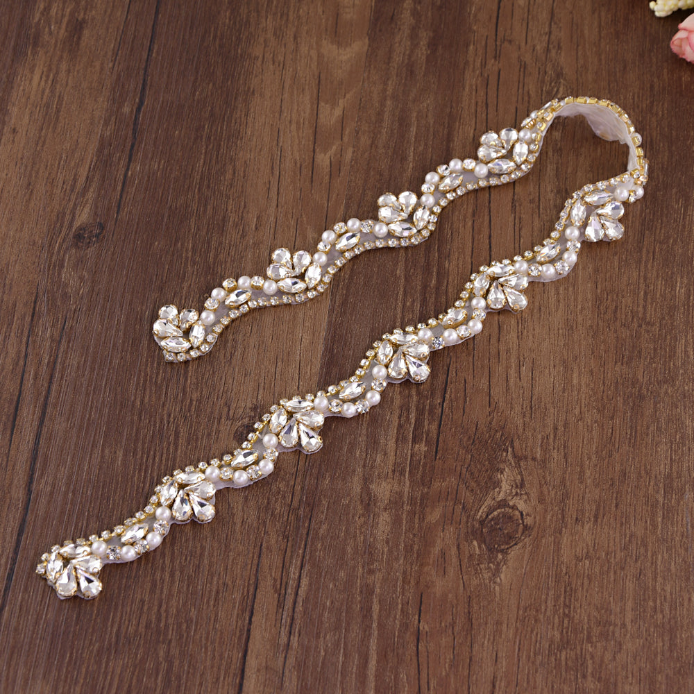 Handmade Rhinestone Crystals Bridal Sash Wedding Dress Belt S421-GOL - sepbridals