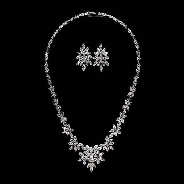 Cubic zirconia bride wedding necklace earring set top quality  CN10315 - sepbridals