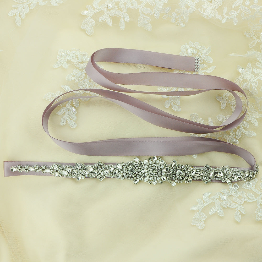 Handmade Rhinestone Crystals Bridal Sash Wedding Dress Belt S351 - sepbridals