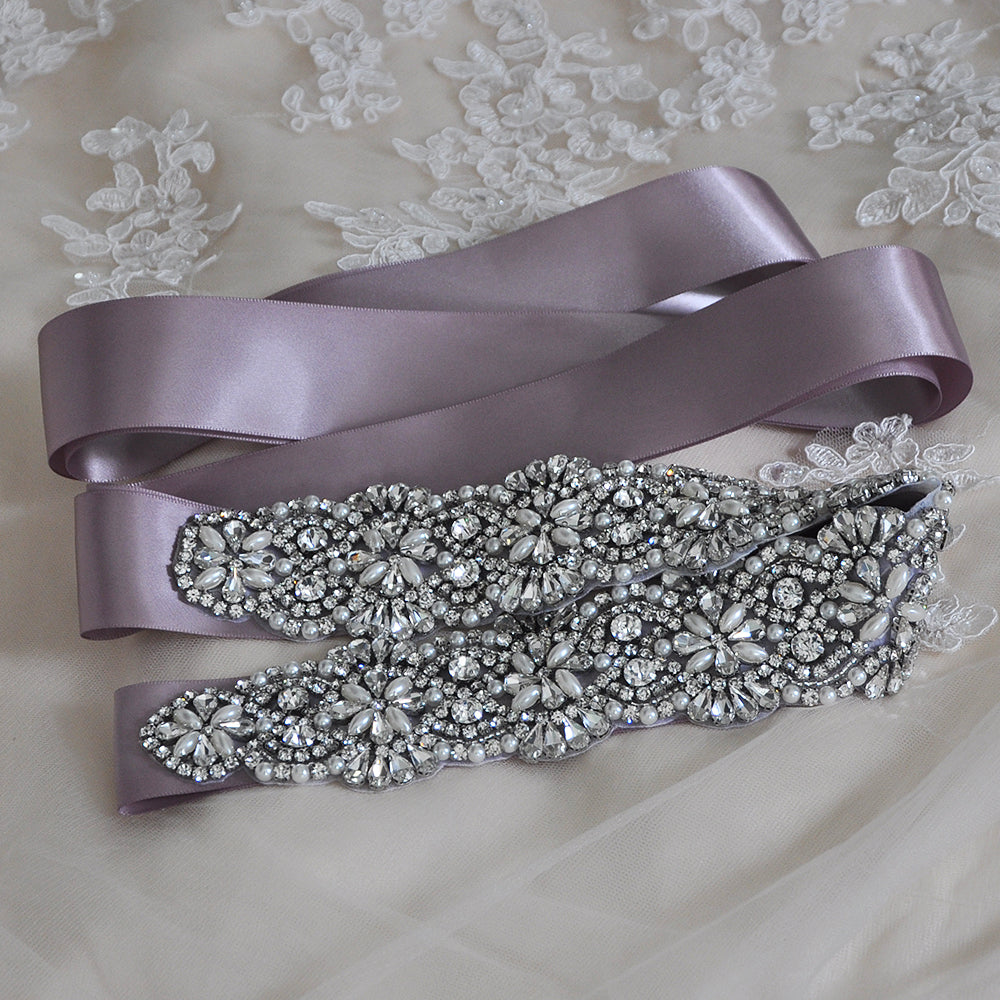 Handmade Rhinestone Crystals Bridal Sash Wedding Dress Belt S04B - sepbridals