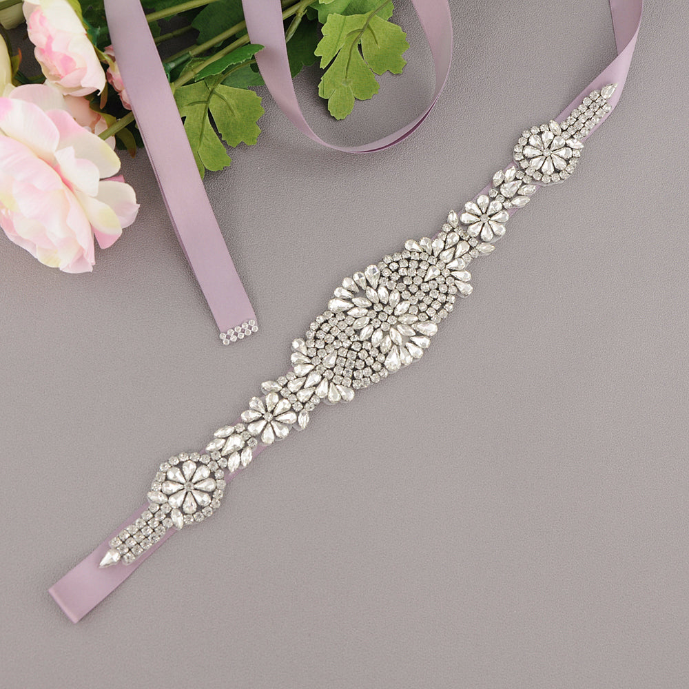 Handmade Rhinestone Crystals Wide Wedding Dress Sash Belt S123-SIL - sepbridals
