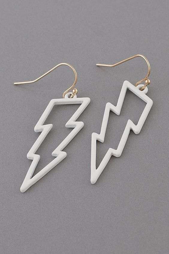 White Outlined Lightning Bolts