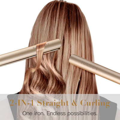Professional Hair Straightener | Flat Iron for Hair Styling: 2 in 1 Tourmaline Ceramic Flat Iron for All Hair Types with Rotating Adjustable Temperature and Salon High Heat 250℉-450℉ | 1 Inch | Gold