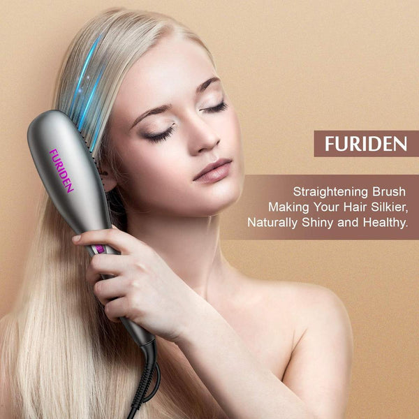 FURIDEN Best Hair Straightening Brush | Electric Heated Hair Brush | Flat Iron Brush | Ceramic Heating Hair Straightener Brush for Thick Hair