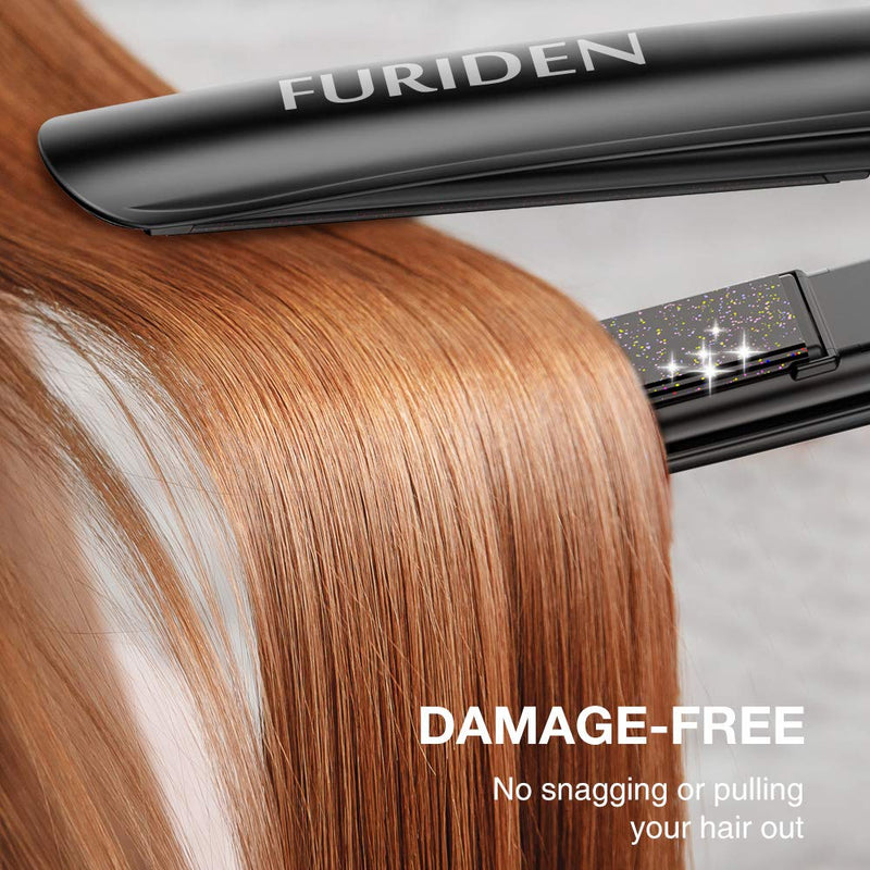 FURIDEN 2020 Best Hair Straightener | Flat Iron For Hair | Hair Straightening And Curling Iron 2 In 1 With 1 Inch Plates | Flat Iron For All Hair Types With Dual Voltage | Black