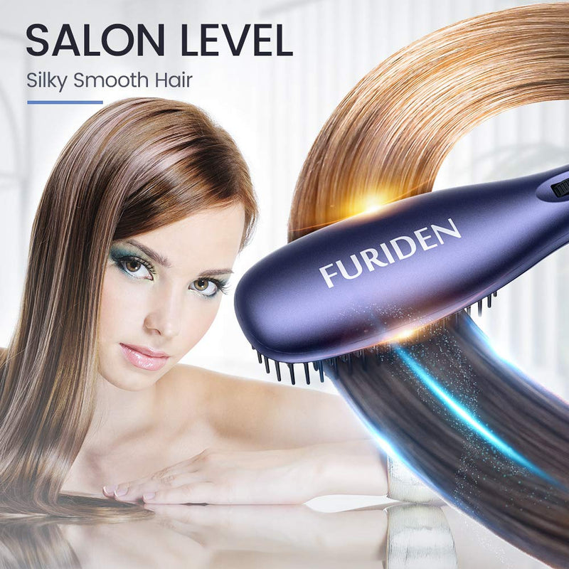 FURIDEN Best Hair Straightening Brush | Electric Heated Hair Brush | Flat Iron Brush | Ceramic Heating Hair Straightener Brush  for Thick Hair | Blue