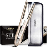 FURIDEN 2019 Best Steam Hair Straightener | Steam Flat Iron Travel Size | Hair Straightening And Curling Iron 2 In 1 | Flat Iron For All Hair Types With Dual Voltage | Champagne Gold
