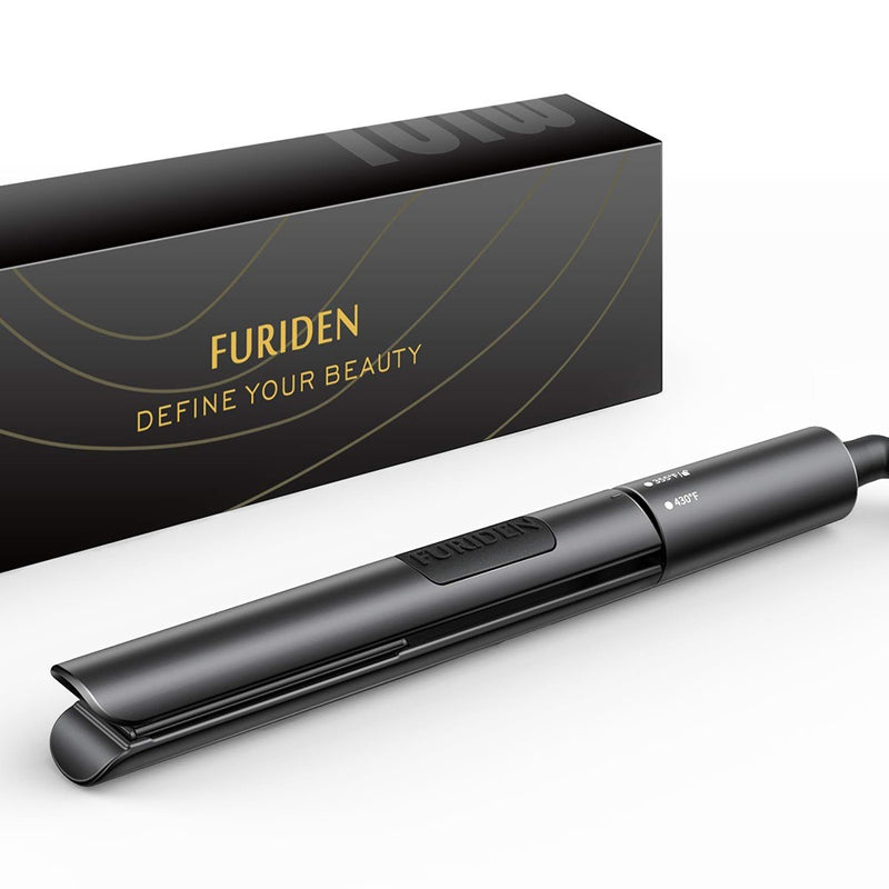 FURIDEN 2019 Best Mini Hair Straightener | Flat Iron Travel Size | Hair Straightening And Curling Iron 2 In 1 | Flat Iron For All Hair Types With Dual Voltage | Black