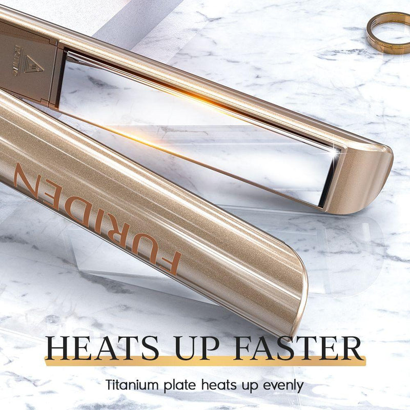 Professional Hair Straightener | Flat Iron for Hair Styling: 2 in 1 Titanium Flat Iron for All Hair Types with Rotating Adjustable Temperature and Salon High Heat 250℉-450℉ | 1 Inch | Gold