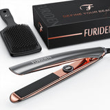 FURIDEN 2019 Best Hair Straightener | Flat Iron For Hair | Hair Straightening And Curling Iron 2 In 1 With 1 Inch Plates | Flat Iron For All Hair Types With Dual Voltage | Silver
