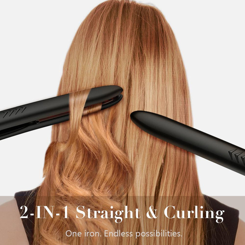 Professional Hair Straightener Titanium Flat Iron For Hair | FURIDEN Hair Straightening And Curling Iron 2 In 1 With 1 Inch Plates | Thin Flat Iron For All Hair Types With Dual Voltage | Black