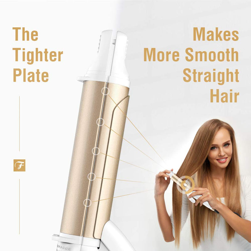 FURIDEN 2019 Best Mini Hair Straightener | Flat Iron Travel Size | Hair Straightening And Curling Iron 2 In 1 | Flat Iron For All Hair Types With Dual Voltage | White