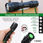 Ultra-Bright LED Flashlight, Wsiiroon CREE XML-T6 LED Flashlight, Zoomable, IP65 Water-Resistant, Portable, 5 Light Modes for Indoor and Outdoor Use, 2 pack (Batteries Not Included)