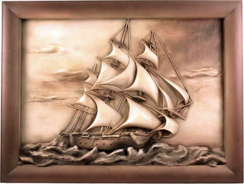 Ship - sailing yacht - lime wood - hand carved picture - Large Size-Viktor-Art