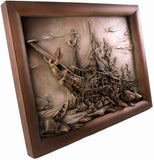 Ship - Frigate wreck - lime wood - hand carved picture - Large Size-Viktor-Art
