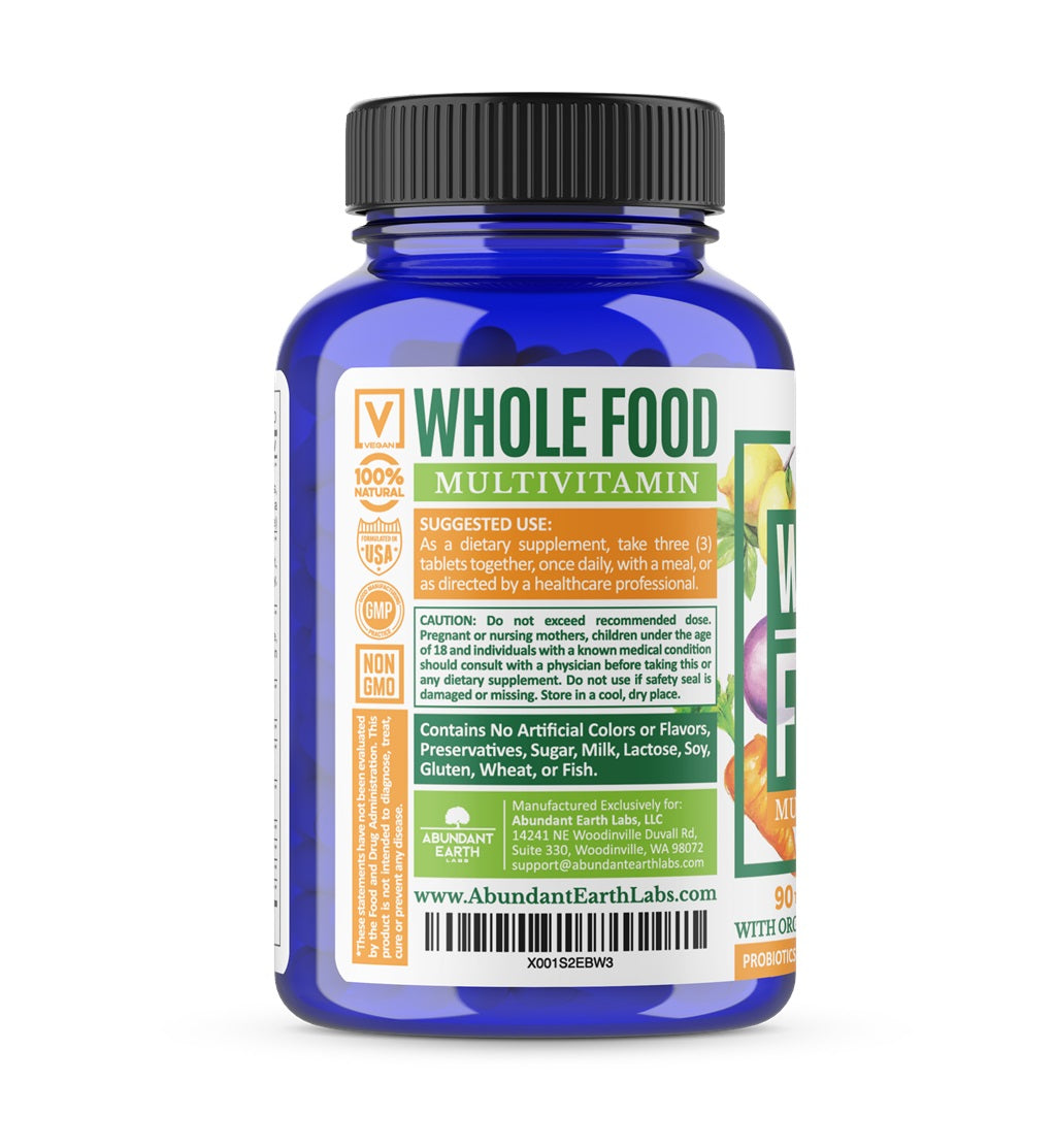 Organic Whole Food Multivitamin With Probiotics and Digestive Enzymes, 1 Bottle-30 Day Supply