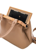 Caila Tan Wood Frame Bag