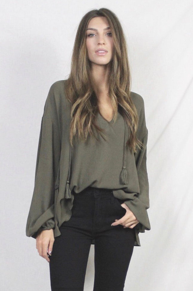 Waiting For You Ruffle Top- Green