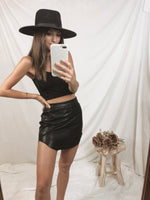 Dirt Road Black Leather Skirt