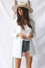 White Linen Blazer - Fourth and Harper