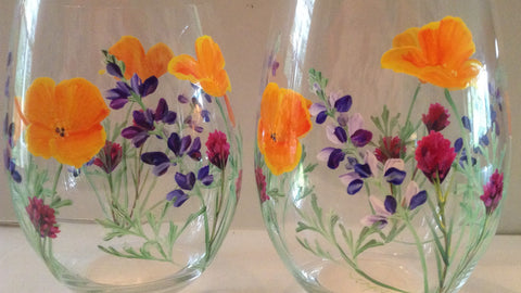 "Stemless Wine Glasses ""Meadow"""