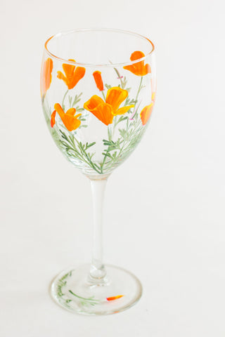 California Poppy Painted Wine Glass