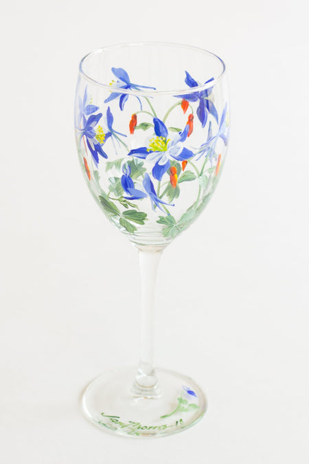 Blue Columbine Painted Wine Glass