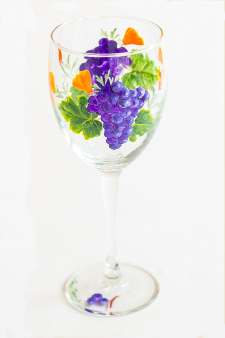 Spring Vineyard Grape Painted Wine Glass