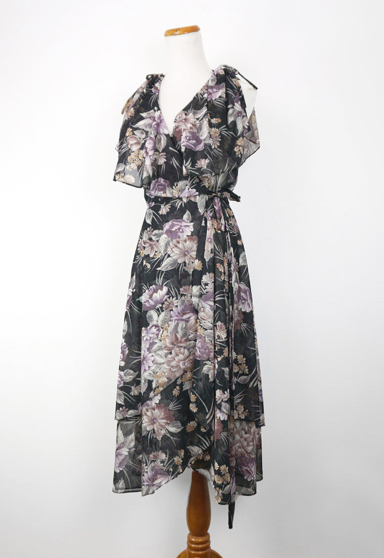Sheer Black Floral Layered 70's Wrap Dress
