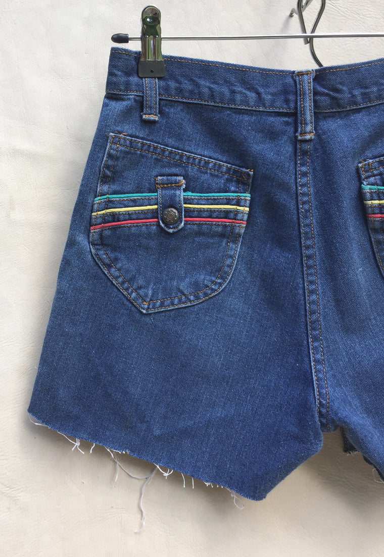 Vintage Rainbow Pockets Cutoffs