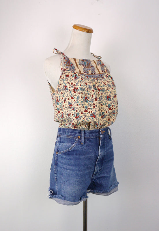 Sweet Vintage 90s Cotton Nepal Cami Shoulder Ties