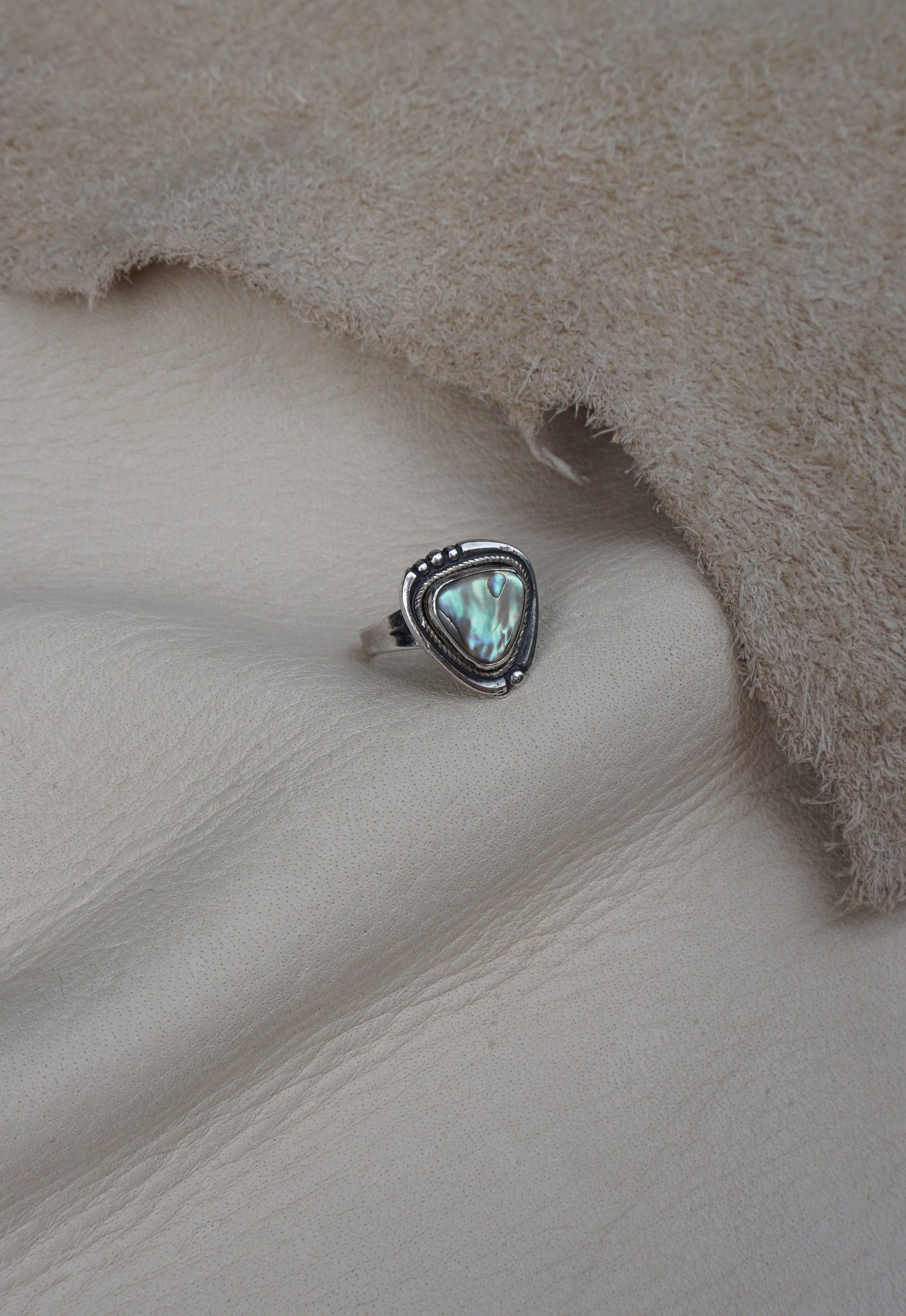 Abalone Triangle Sterling Silver Native American Signed Ring