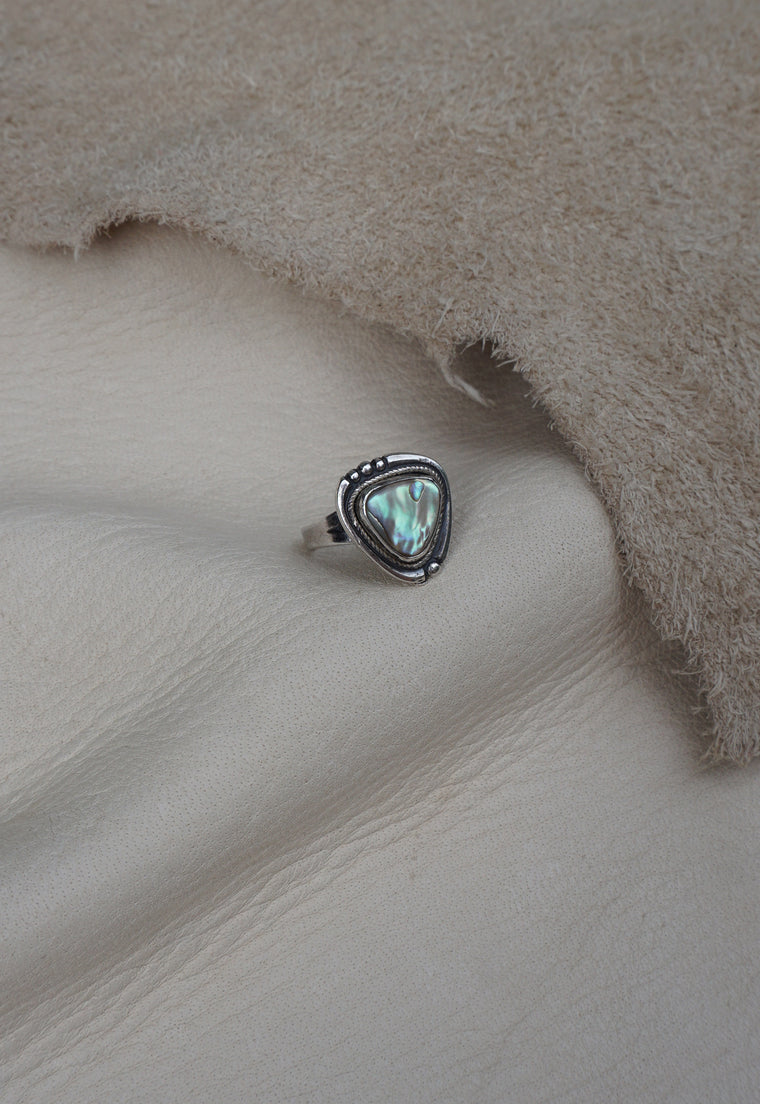 Abalone Triangle Native American Signed Ring