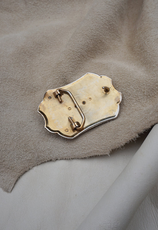 Brass Tone Agate Vintage Belt Buckle