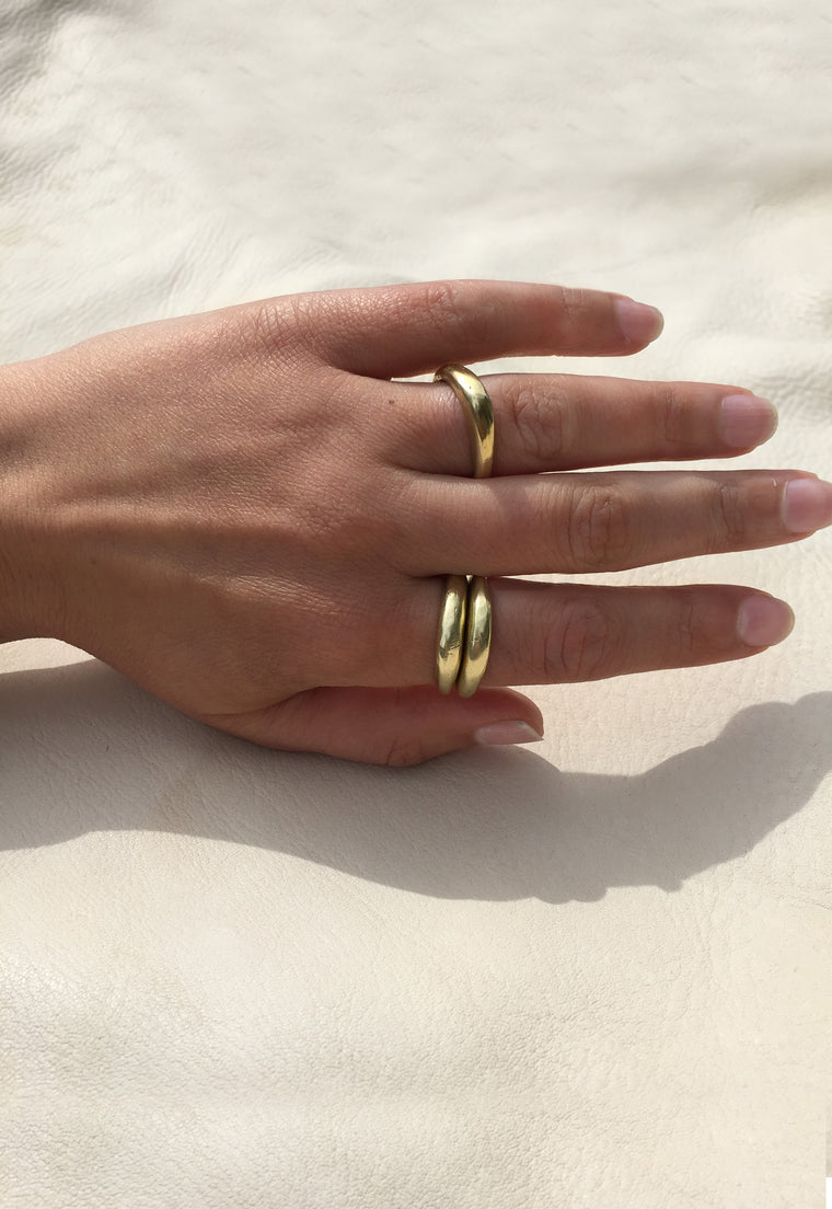 Organic Free Form Minimalist Solid Brass Stackable Ring Cashmere Cactus Hand Made Desert Jewelry