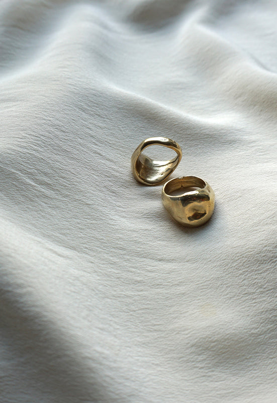 Organic Free Form Minimalist Asymmetrical Solid Brass Statement Ring Cashmere Cactus Hand Made Desert Jewelry