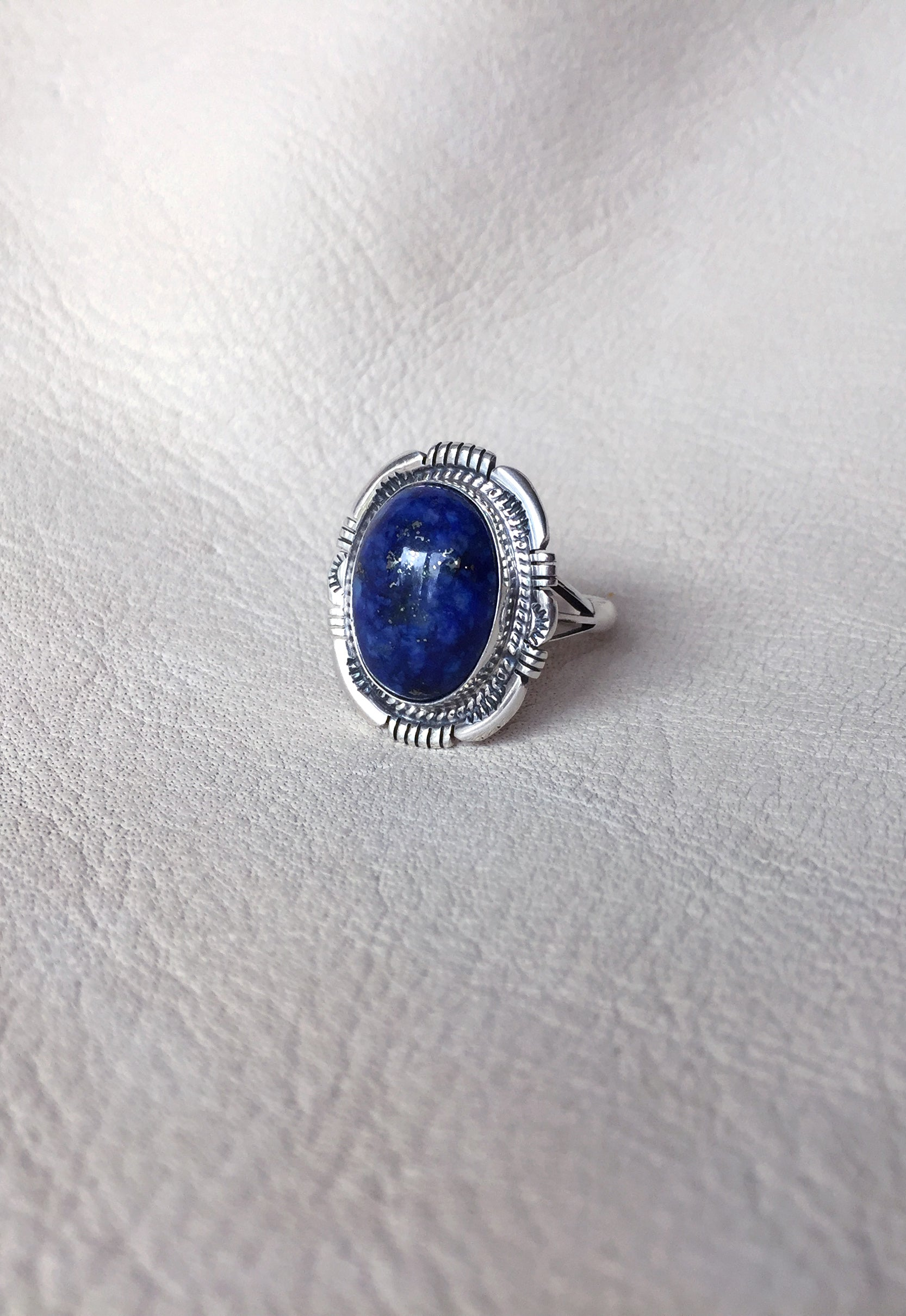 Native American Signed Lapis Lazuli Ring