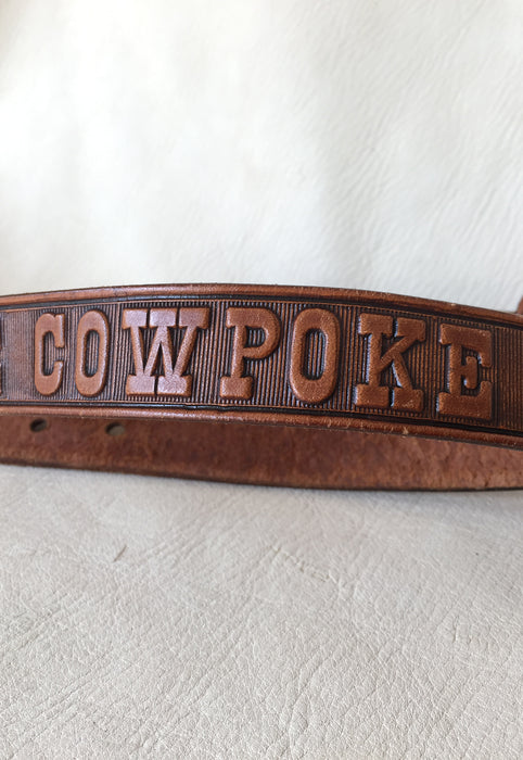 """Little Cowpoke"" Tooled Leather Children's Belt"