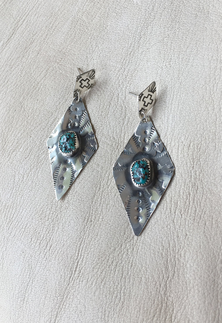 Turquoise & Sterling Silver Fine Drop Earrings