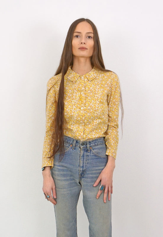Sweet Lemon Floral Vintage, Handmade Pointed Collar Flour Sack Shirt