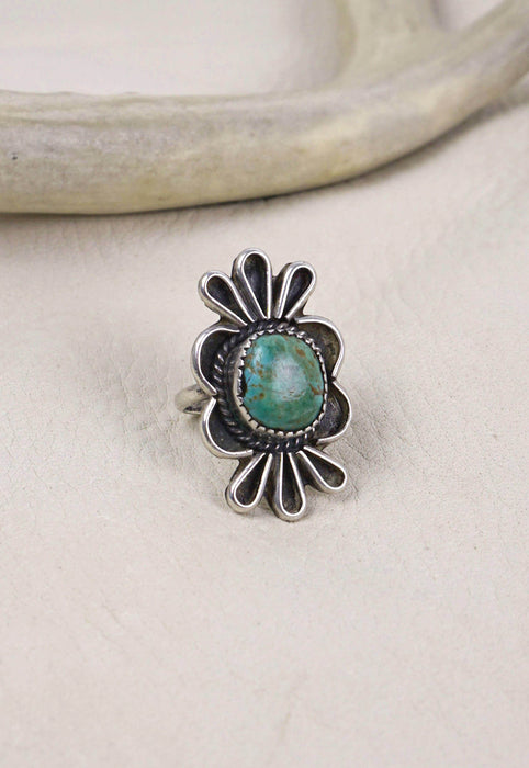 Vintage Signed Native American Turquoise and Sterling Silver Ring