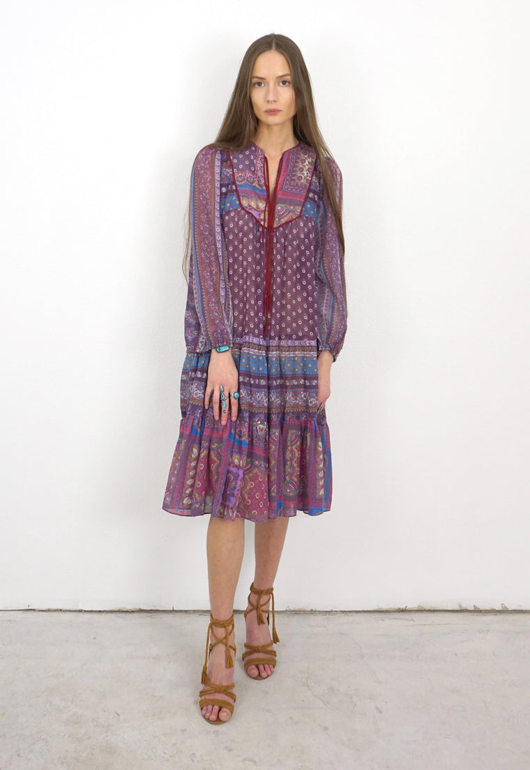 1970's Eggplant, Indian Dress with Bishop Sleeves